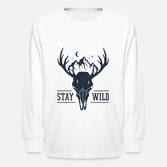 Travel T-Shirts - Stay Wild - Wanderlust collection - Kids' Longsleeve Shirt white
