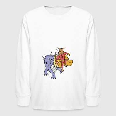 Kids Superhero Superhero dog is fighting monsters kid kidscontes - Kids' Long Sleeve T-Shirt