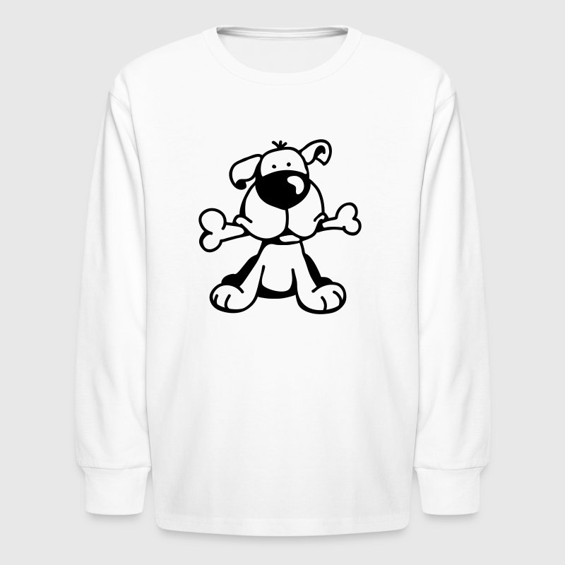 The little dog has a big bone - Kids' Long Sleeve T-Shirt