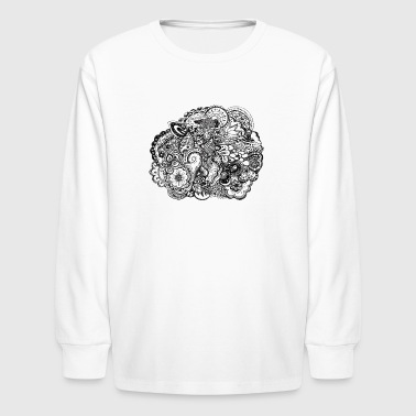Groovy-chick Black and white pen and ink doodle - Kids' Long Sleeve T-Shirt