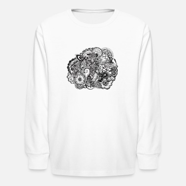 Draw Black and white pen and ink doodle - Kids' Long Sleeve T-Shirt