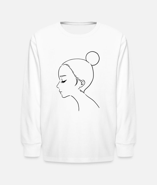 Natural Beauty Long-Sleeved Shirts - Girl with Bun Hair - Kids' Longsleeve Shirt white