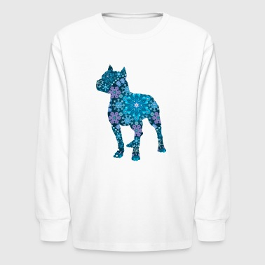 Pitbull with Blue Boho Snowflake Design - Kids' Long Sleeve T-Shirt
