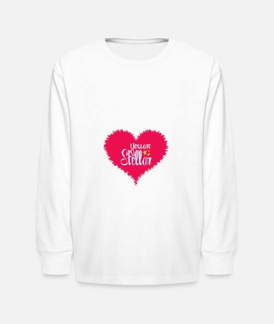 Heart Long-Sleeved Shirts - U Are Stellar Heart - Kids' Longsleeve Shirt white
