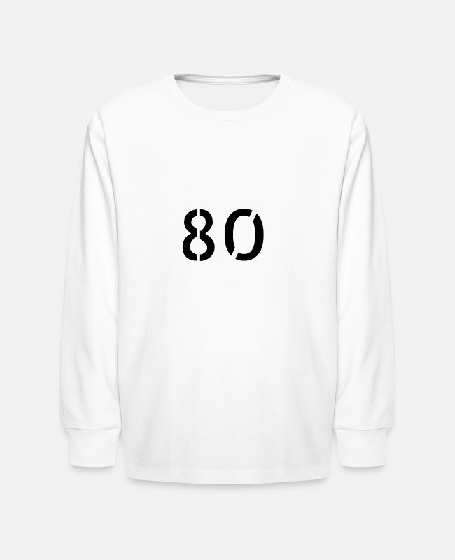 Numbers Long-Sleeved Shirts - Number 80 - Kids' Longsleeve Shirt white