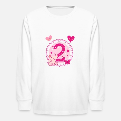Kids Longsleeve ShirtSecond Birthday Girl 2nd Happy Gift Niece