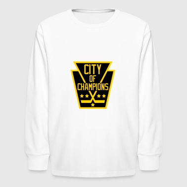 Gold City City of Champions - Black and Gold - Kids' Long Sleeve T-Shirt