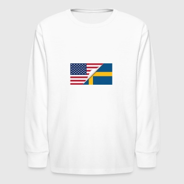 Swedish Flag Half American Half Swedish Flag - Kids' Long Sleeve T-Shirt