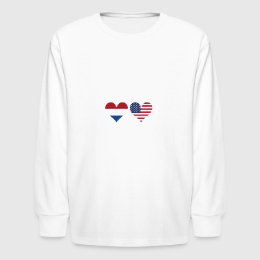 Dutch American Flag Hearts - Kids' Long Sleeve T-Shirt