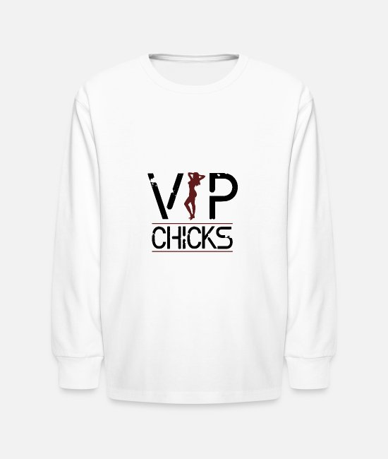 Party Long-Sleeved Shirts - VIP Chicks Woman Sexy Body Girl - Kids' Longsleeve Shirt white