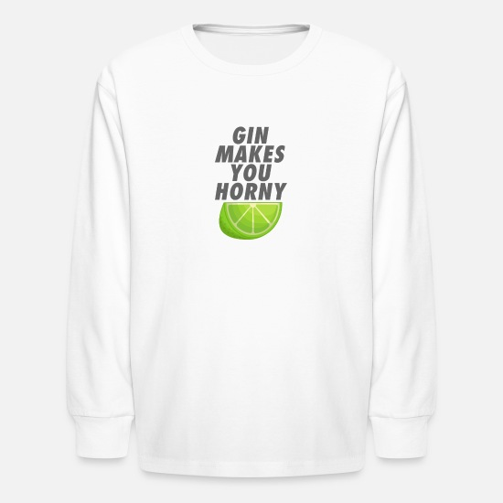 Love Long-Sleeve Shirts - Gin makes you horny - Kids' Longsleeve Shirt white