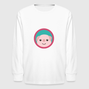 Cute pink pig with purple circle Gift - Kids' Long Sleeve T-Shirt