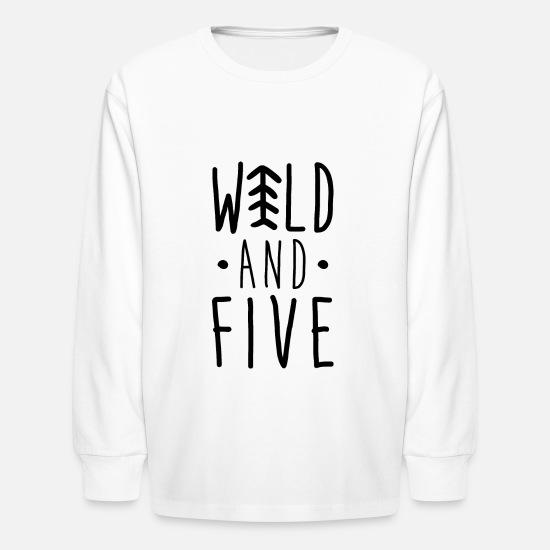 Year Long-Sleeve Shirts - Wild Five/Arrow shirt/5th Birthday shirt - Kids' Longsleeve Shirt white
