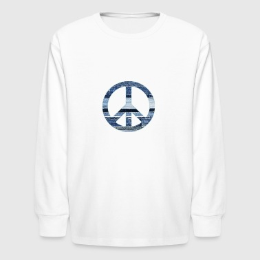 denim peace sign2 - Kids' Long Sleeve T-Shirt