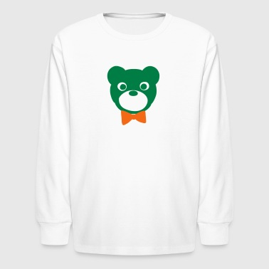 big bear with a red bow tie - Kids' Long Sleeve T-Shirt