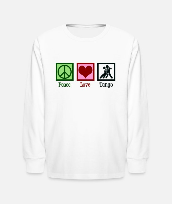 Tango Dancer Long-Sleeved Shirts - Peace Love Tango - Kids' Longsleeve Shirt white