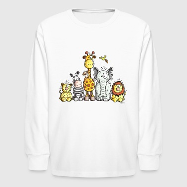 Happy African Animal Team - Kids' Long Sleeve T-Shirt
