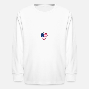 My Favorite Country I love america! Gift, USA, Heartbeat - Kids' Longsleeve Shirt