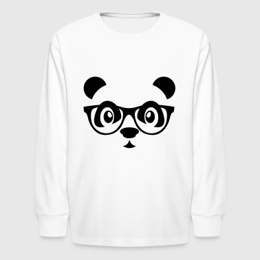 Panda panda with glasses - Kids' Long Sleeve T-Shirt