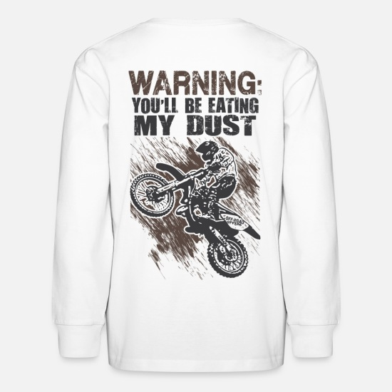 Motocross T-Shirts - Motocross Dust Warning - Kids' Longsleeve Shirt white
