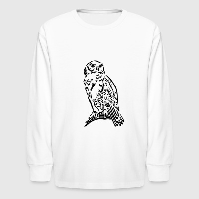 Beautiful Snowy Owl in Tattoo Style. - Kids' Long Sleeve T-Shirt