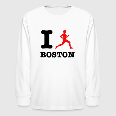 I run boston design - Kids' Long Sleeve T-Shirt