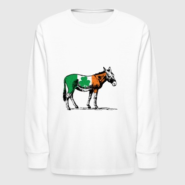 Irish Flag Donkey - Kids' Long Sleeve T-Shirt