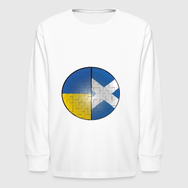 Ukraine and Scotland Dual National Flag DNA Pride - Kids' Long Sleeve T-Shirt