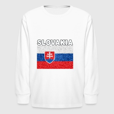Slovakia Flag Stained Glass Effect Deluxe - Kids' Long Sleeve T-Shirt