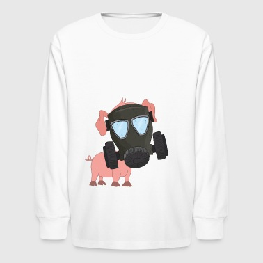 Pig with gas mask Air pollution - Kids' Long Sleeve T-Shirt