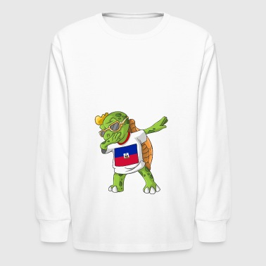 Haiti Dabbing Turtle - Kids' Long Sleeve T-Shirt