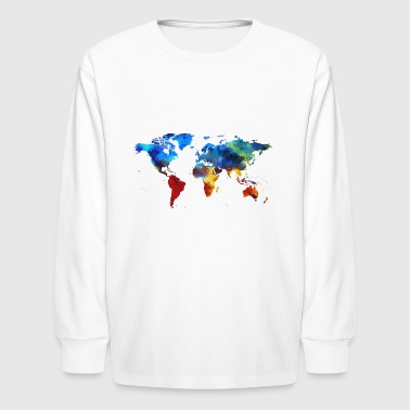 Colourful World Map - Kids' Long Sleeve T-Shirt