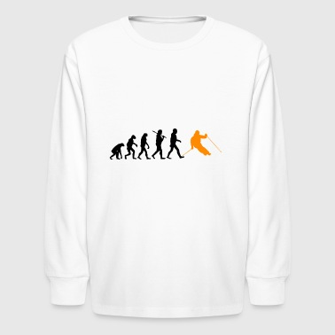 Evolution ski skiing sports darwin gift present - Kids' Long Sleeve T-Shirt