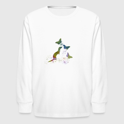 Ferret and butterflies - Kids' Long Sleeve T-Shirt