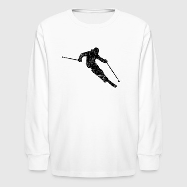 Skier Skiing 04 (Distressed Black) - Kids' Long Sleeve T-Shirt