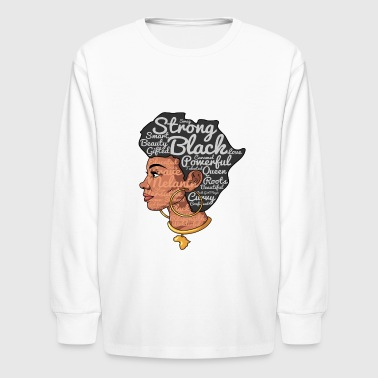 Natural Hair Afro Word Art - Liberating Woman Afro - Kids' Long Sleeve T-Shirt