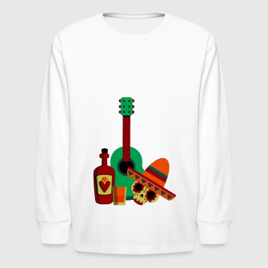 Mexican men skull in party with guitar design - Kids' Long Sleeve T-Shirt