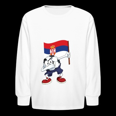 Serbia Dabbing Soccer Ball - Kids' Long Sleeve T-Shirt