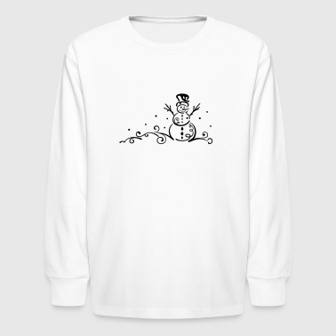 Winter. Little Snowmen with snowflakes. - Kids' Long Sleeve T-Shirt