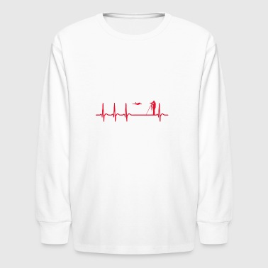 Heartbeat Spotting Airplanes Cool Funny Geek Gift - Kids' Long Sleeve T-Shirt