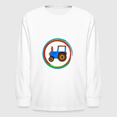 blue toy tractor / toy tractor - Kids' Long Sleeve T-Shirt