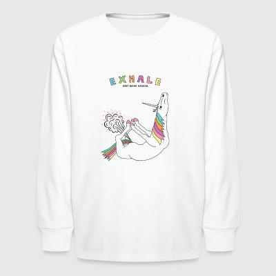 Bow Pose Unicorn Exhale Outline - Kids' Long Sleeve T-Shirt