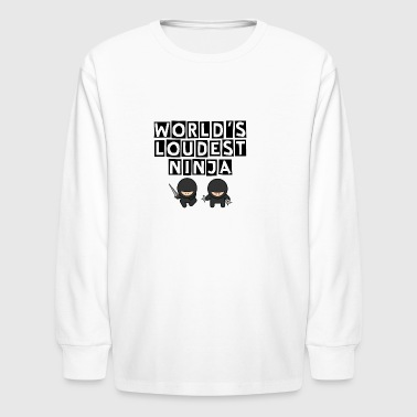 World's Loudest Ninja in Black - Kids' Long Sleeve T-Shirt