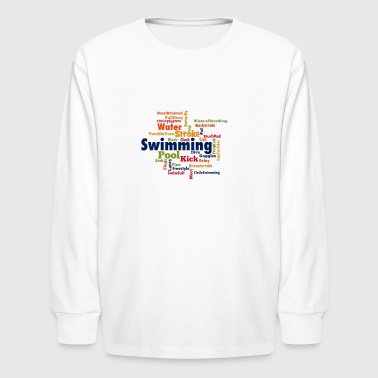 Swimming Word Cloud - Kids' Long Sleeve T-Shirt