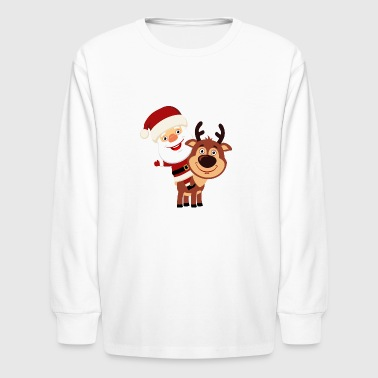Santa-Claus-Reindeer-Christmas-new-year-holiday - Kids' Long Sleeve T-Shirt