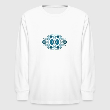 Inspired by Vintage Pyrex Horizon Blue Pattern - Kids' Long Sleeve T-Shirt