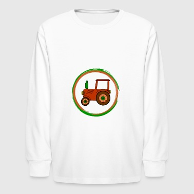 brown toy tractor / toy tractor - Kids' Long Sleeve T-Shirt