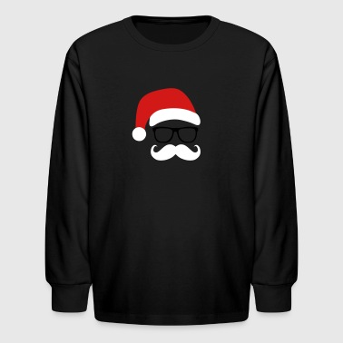 Funny Santa Claus with nerd glasses and mustache - Kids' Long Sleeve T-Shirt