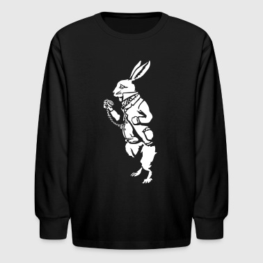 White rabbit wonderland (negative) - Kids' Long Sleeve T-Shirt