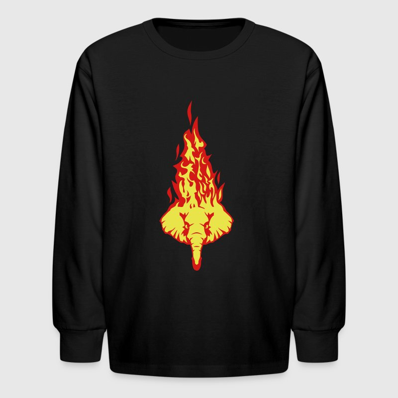 elephant fire flame head 310 - Kids' Long Sleeve T-Shirt